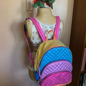 Betsey Johnson Metallic Rainbow Backpack NWT -Rare